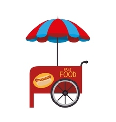 Stall parasol cart icon vector