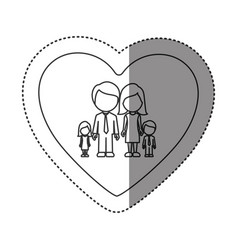 Sticker of monochrome contour of heart with vector