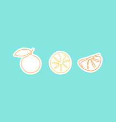 sticker one line art style lemons abstract food vector image