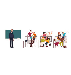 Students sitting at desks in classroom vector