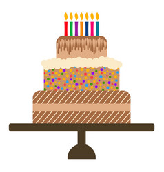 Sweet birthday cake with seven burning candles vector