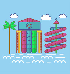 Swimming pool with waterslides for children vector
