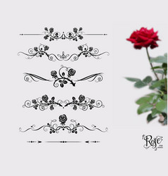 Tattoo black rose set vector