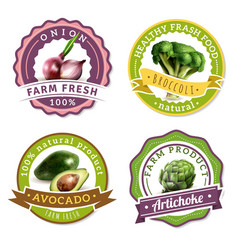 Vegetables label set vector