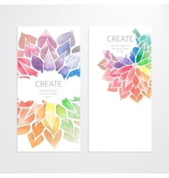 Watercolor rainbow flowers Banners flyers vector