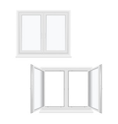 windows plastic double-leaf open and closed models vector image