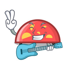 with guitar semicircle mascot cartoon style vector image