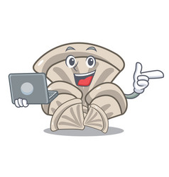 With laptop oyster mushroom character cartoon vector