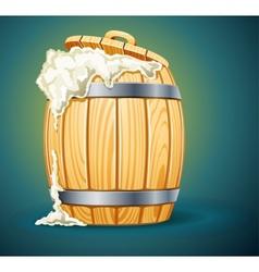 Wooden barrel full of beer vector