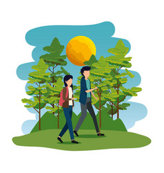 young couple in camping zone vector image