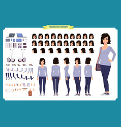 Young woman casual clothes character creation vector