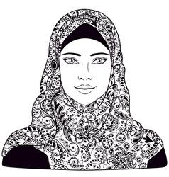arab girl outline vector image vector image