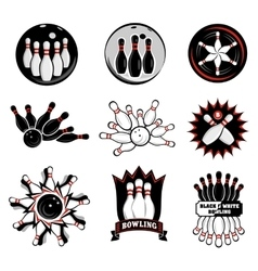 Bowling team or club emblems vector image