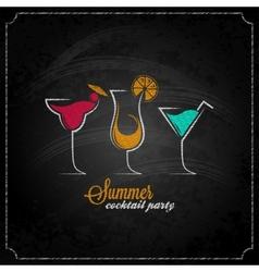 cocktail summer party chalk design menu background vector image