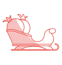 red shading silhouette of santa claus sleigh with vector image