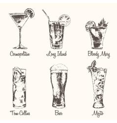 Set cocktail Cosmopolitan Beer Mojito drawn vector image