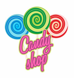 candy shop logo sweet icon or symbol for cafe vector image