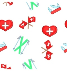 Country Switzerland pattern cartoon style vector image vector image