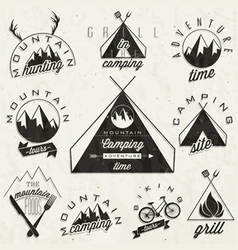 Mountain Expedition symbols and signs vector image vector image