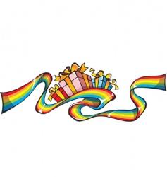 rainbow giftwrap vector image vector image
