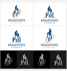 real estate logo design with home building vector image vector image