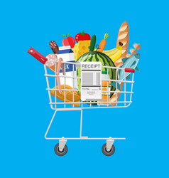 shopping cart full of groceries and receipt vector image