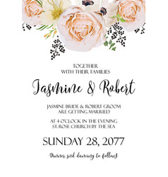 Wedding floral invitation invite watercolor card vector