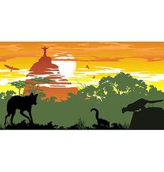 Wild animals of Brazilian woods vector image vector image