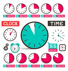 Clock - Time Icons Set Isolated on White vector image vector image