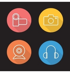 Electronics devices flat linear icons set vector image vector image