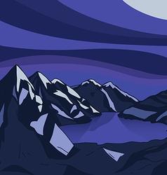 Night mountain Glacial lake landscape modern vector image vector image