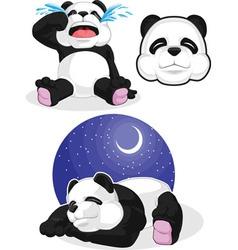 Panda Set 2 Sleeping Crying Panda Head vector image vector image