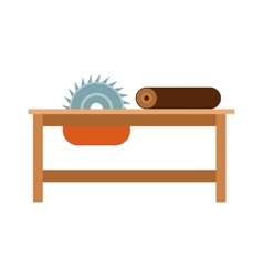 Power-saw bench icon industry tool equipment work vector image vector image