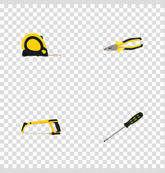 Realistic pliers carpenter length roulette and vector