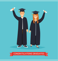 boy and girl graduates in flat vector image vector image