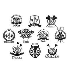 darts sport award or victory icons set vector image vector image