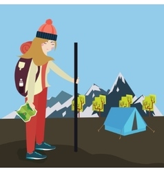 girls go hiking mouintain tent bring bag and map vector image vector image