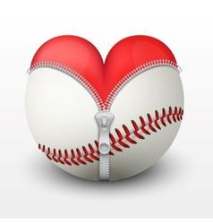 Red heart inside baseball ball vector image vector image