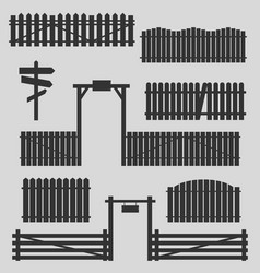 set of wooden fences with gates vector image