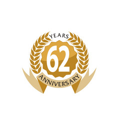 62 years ribbon anniversary vector image