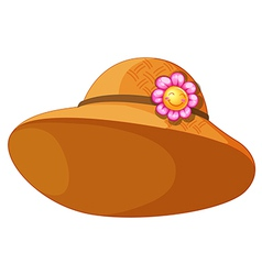 A brown hat with a flower vector