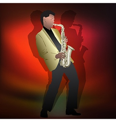 abstract music Jazz with saxophone player on red vector image
