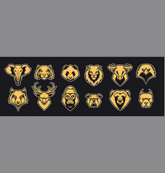 Animals head mascot icons set vector