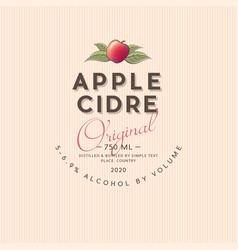 Apple cider label light low alcohol drink vector