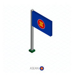Asean flag on flagpole in isometric dimension vector