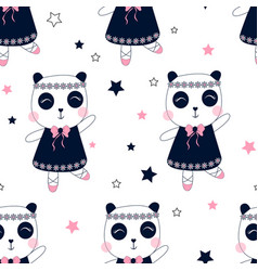 Ballet panda seamless pattern print design vector