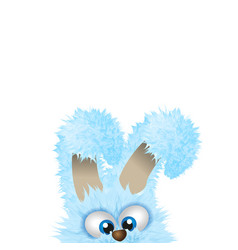Blue easter bunny is hiding beneath fluffy rabbit vector