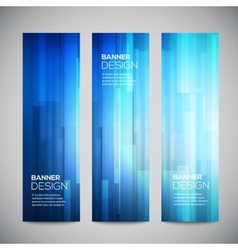 blue low poly vertical banners set vector image