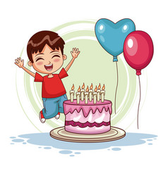 Boy jumping on his birthday vector