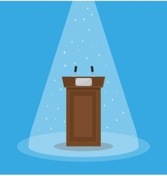 Brown wooden podium tribune rostrum vector